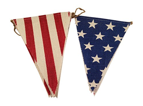 (Burlap Flag Banner with Stars and Stripes 4th of July American Flag)