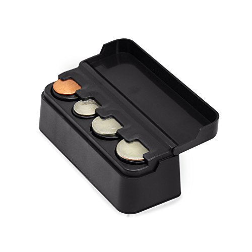 (RED SHIELD Premium Black Coin Holder, Organizer with Removable Lid for Cars, Homes, and Offices. Easily Organize and Store Loose Change in One Small Container. Durable Plastic. )