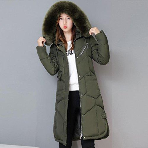 Cálido FAMILIZO Mujer Pluma Capucha Verde Chaquetas Espesar jacket ZqOPv0