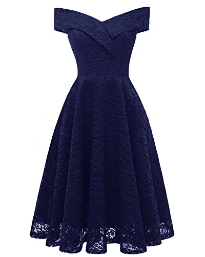Aibwet Women's Off-The-Shoulder A-Line Knee Length Floral Cocktail Elegant Vintage 1950s Style Bridesmaid Sleeveless Evening Prom Formal Swing Dress(S, Navy Blue_1)