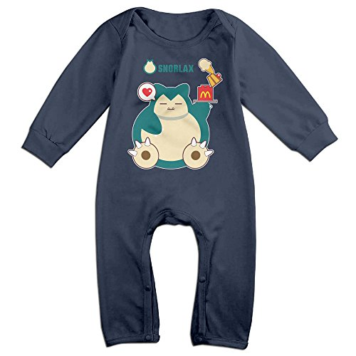 [HOHOE Newborn Babys Hungry Snorlax Long Sleeve Romper Bodysuit Outfits Navy 6 M] (Snorlax Costume Dress)