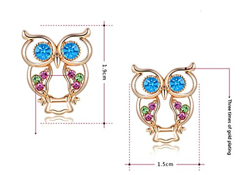 AMDXD Bijoux Plaqué Or Femme Boucles D'oreilles Or Rose Rond Cubic Zirconia Chouette Forme 1.9*1.5cm