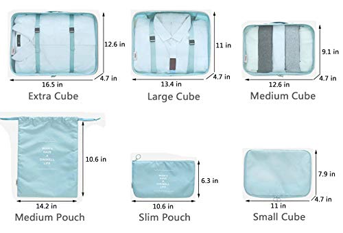 Packing Organizers - Clothing Cubes Shoe Bags Laundry Pouches For Travel Suitcase Luggage, Storage Organizer 6 Set Color Cyan by Diniwell (Image #3)
