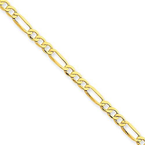 14k Yellow Gold 8in 3.5mm Solid Lightweight Men's Figaro Chain Bracelet - Figaro Lightweight Bracelet
