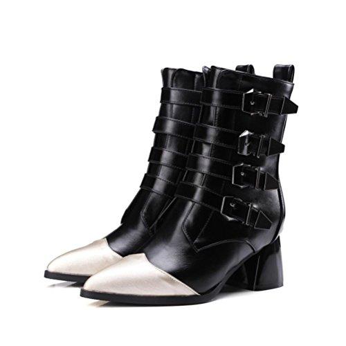 Ei&iLI Bottes pour dames chaussures talon Chunky Fashion a souligné Toe Boots Bottes de moto Rivets , black , 39