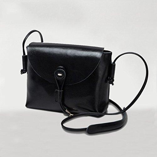 Burenqi@ Hembra/bolsa de hombro bolsa/diagonal plaza simple y pequeña bolsa/Bolso Messenger retro/square,Cruz, negro Vertical, negro