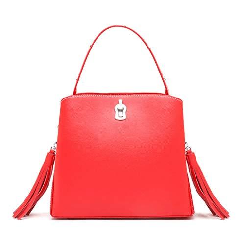 De Mujer Jiuyizhe Viaje Con Cuero Bolso Para color Bandolera Blue Vintage Red Borla 5wqAW6Zpfq