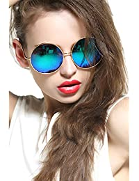 Oversized Round Circle Mirrored Hippie Hipster Sunglasses...