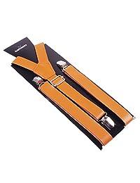 Panegy Women Unisex Solid Color Pu Adjustable Y-Back Clip Suspender Braces-Brown