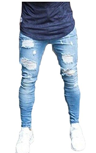 Qiangjinjiu Mens Biker Skinny Fit Ripped Distressed Destroyed Holes Jeans Zipper 1 L by Qiangjinjiu