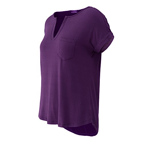 MAÏ CHUS Women's Solid V Neck T Shirts Casual Loose Short Sleeve Blouse Tops with Pocket
