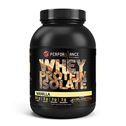 EarthNutri Pure Whey Protein Isolate Powder – Vanilla with 2g of Velositol, 25g of Protein, 5g of BCAAs, 3g of Glutamine Precursor, No Whey Concentrate, No Proprietary Blends, 2lb Tub