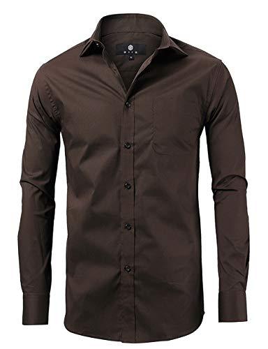 (diig Men Slim Fit Long Sleeve Dress Shirt, Brown)