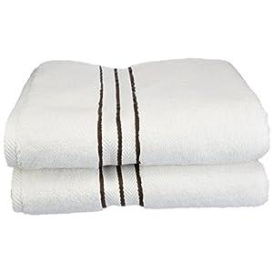 Superior Hotel Collection 900 Gram, 100% Premium Long-Staple Combed Cotton 2 Piece Bath Towel Set, White with Chocolate Border