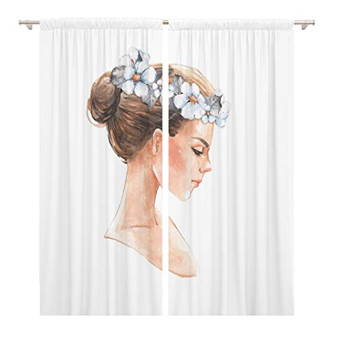 Tinmun 104 x 84 Inch Decorative Drapes Bride Beautiful Girl Watercolor Female Face Painting Wedding Hair 2 Panels Window Curtains for Living Room Bedroom Printed (Easy Face Painting Designs For Kids Printable)