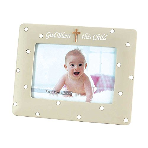 God Bless This Child Embossed Cross 6.5 x 9 Resin Stone Photo Frame Plaque