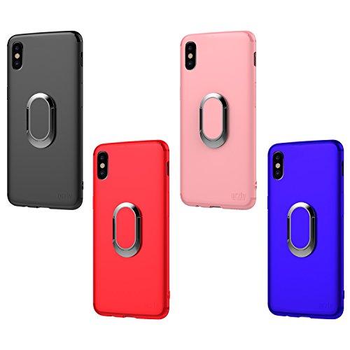Funda iPhone X, Orzly Slim-Stand Case para el iPhone X/iPhone 10 (Modelo 2017) - Carcasa Ultra-Fina Protectora [Anti-Arañazos] en ROSA con Ring Stand Integrado para Mejor Agarre y Soporte para la Pant NEGRO para iPhone X
