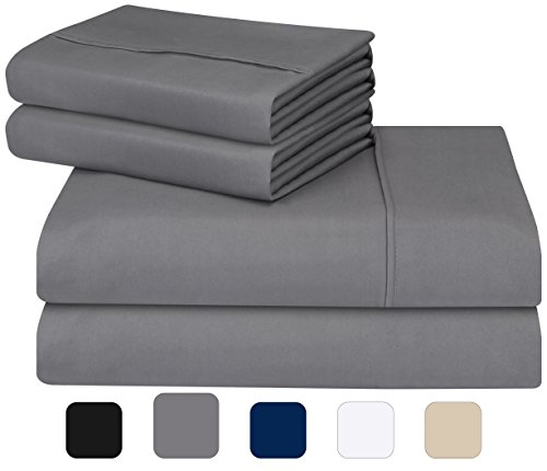 Utopia Bedding Soft Brushed Microfiber Wrinkle Fade and Stain Resistant 4-Piece Queen Bed Sheet Set...