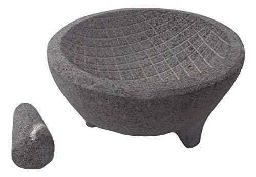 EA Molcajete. Guacamole Mortar and Pestle. Mexican Molcajete Bowl. Authentic Handmade 8in. Grey Grid