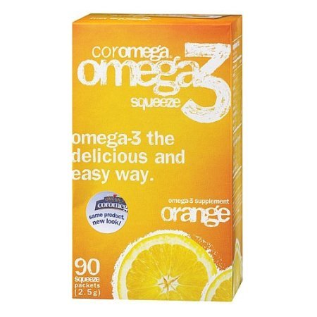 Coromega Omega-3 Fish Oil Supplement, 2.5g Single Serve Squeeze Packets, assorted flavors and quantities
