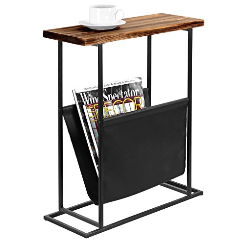 MyGift 21-Inch Modern Wood & Metal End Table with Magazine Holder ()