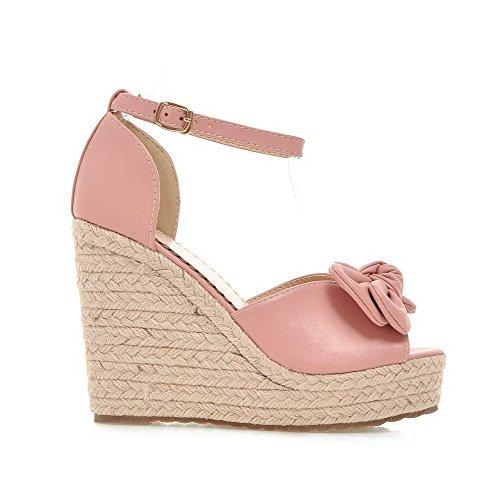 AmoonyFashion Womens Open Toe Buckle PU Solid High Heels Sandals Pink 7KqHVR