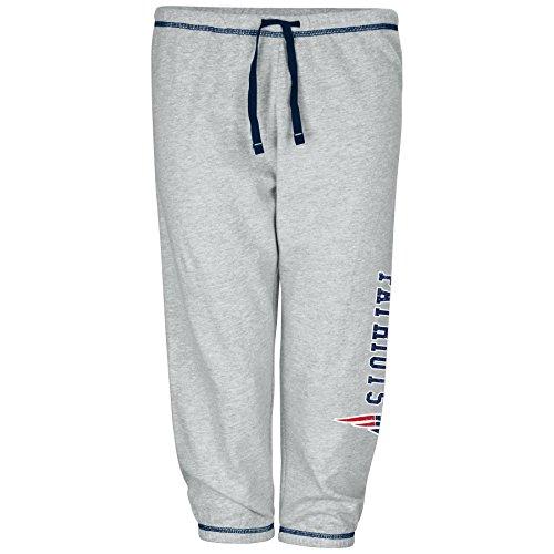(NFL New England Patriots Women Lt Weight Fleece Pant W/Topstitch Trim Outside Ds W/M Logo Down Leg, Heathergrey, 2X)