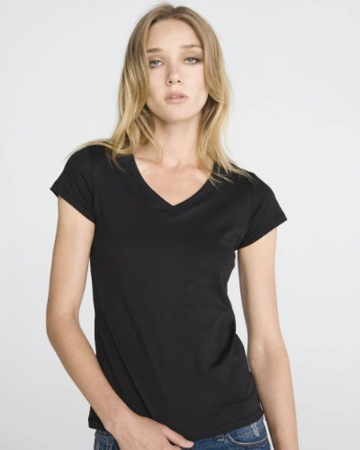 Bella Ladies Short Sleeve V-Neck T-Shirt, White , Medium