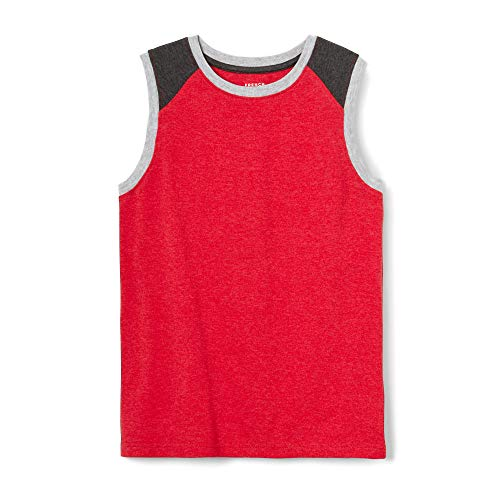 French Toast Boys' Big Sleeveless Muscle Tee, Red Heather, XL (14/16)]()