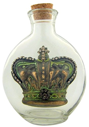 Vintage Holy Water Bottle 6 Oz Glass Container With Fleur De Lis Crown And Cross