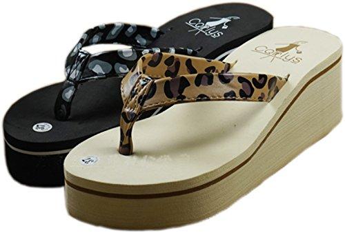 bettyhome Women Sexy Leopard Comfortable Thongs Casual Wedges Sandals Beach Flip Flops Slippers (6 B(M) US=EUR 37, beige)