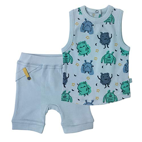 Finn + Emma Organic Cotton Tank Tee and Shorts Set for Baby Boy or Girl - Monsters, 12-18 Months
