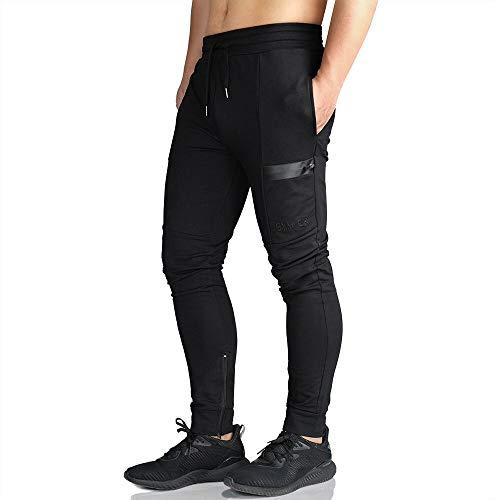 - EK Men's Active Training Jogger Pants Workout Gym Slim fit Sweatpants Causal Leg Zipper (Black, Medium)