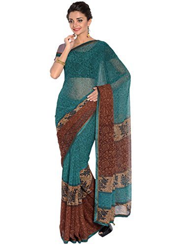 IndusDiva Women's Blue and Brown Georgette Saree