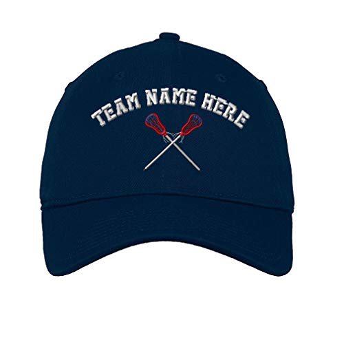 Custom Low Profile Soft Hat Lacrosse Sports D Embroidery Team Name Cotton Dad Hat Flat Solid Buckle - Navy, Personalized Text Here