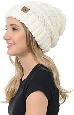 C.C BYSUMMER Stylish Thick Soft Cable Knit Slouchy Warm Winter Beanie Hat