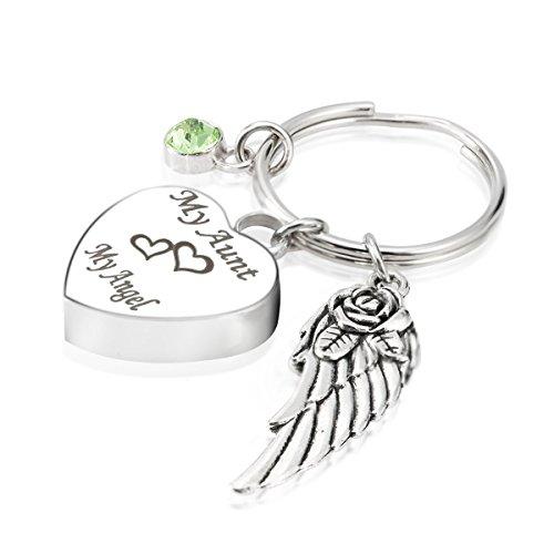Engraved Personalised My Aunt My Angel Cremation Urn Jewelry Keychain Memorial Ash Keepsake August Olivine Birthstone Angel Wings Charms Pendant ()