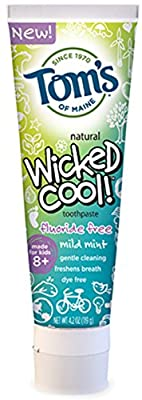 Tom's of Maine Wicked Cool! Toothpaste Fluoride Free, Mild Mint 4.2 oz