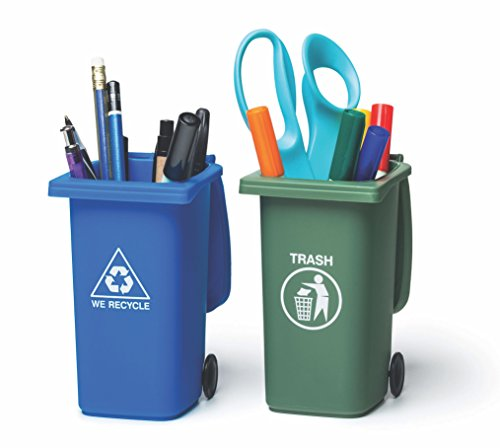 BigMouth Inc The Mini Curbside Trash and Recycle Can Set, 5-inch Tall Desktop Organizer, Pencil Holder for Desk -