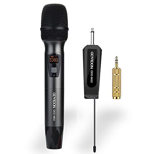 GEARDON Wireless Microphone 48 Channel Dynamic UHF Cordless Vocal Microphone System with Mini Portable Receiver for Meeting,Karaoke,Church,Party,DJ (Best Long Range Wireless Microphone)