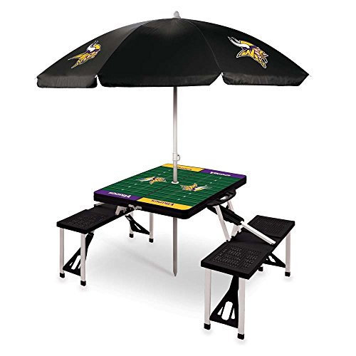 NFL Minnesota Vikings Picnic Table Sport with Umbrella Digital Print, One Size, Black by PICNIC TIME