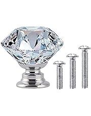 Vand icka 20 stuks, 30 mm, kristalglas, deurkast knoppen, lade, trekgreep (heldere diamant + chromen basis) met schroeven in 3 maten