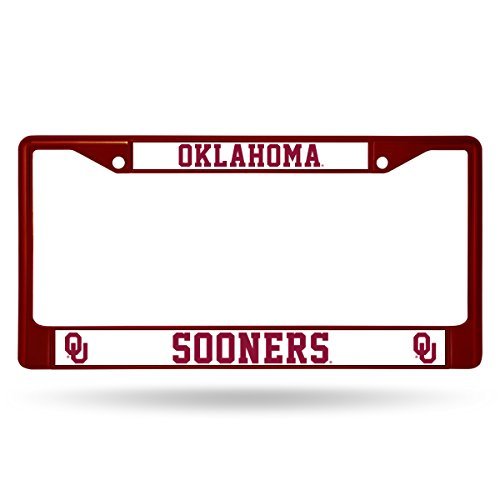 Rico Industries NCAA Oklahoma Sooners Colored Chrome Plate Frame, Maroon - Oklahoma Sooners License Plate