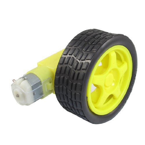 uxcell Yellow Black Tire Wheel + Single Shaft Geared Motor 15RPM 160mA 3V - Single Shaft
