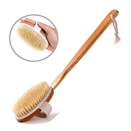 Bath Body Brush Long Handle Bamboo Non-slip 15.7 Inches Bristles Scrubber Body Massager