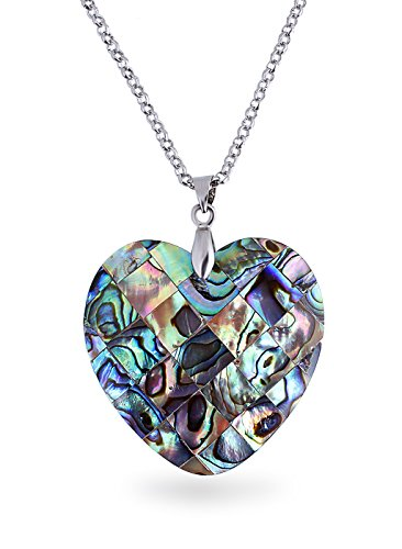 Fasherati mother of Pearl Heart Cross Oval Round Water Drop Natural Abalone Shell Pendant for girls