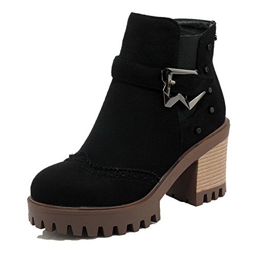 Allhqfashion Women's Zipper High-Heels Imitated Suede Solid Low-Top Boots Black CTUD4hT9uL