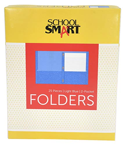School Smart Heavy Duty 2 Pocket Portfolio with 3 Hole Fastener - 9 1/2 x 11 3/4 - 25 Pack - Light Blue ()
