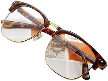 Daxin Unisex Hipster Vintage Retro Classic Half Frame Glasses Clear Lens Nerd Eyewear