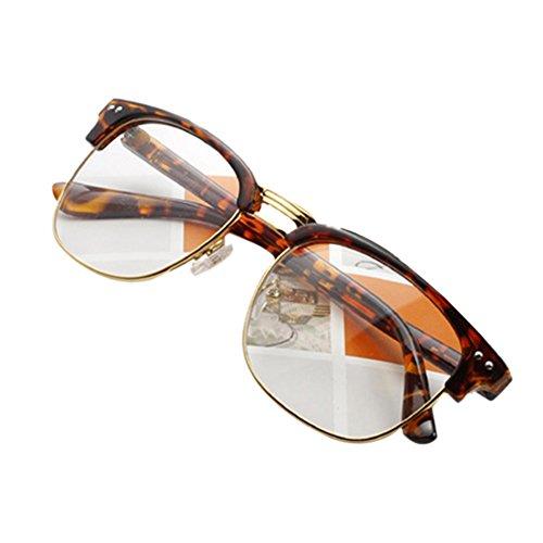 [Daxin Unisex Hipster Vintage Retro Classic Half Frame Glasses Clear Lens Nerd Eyewear (Leopard)] (Cheap Nerd Glasses)